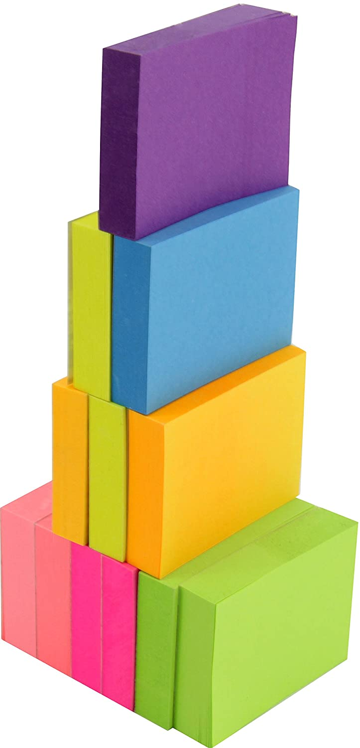 """4A Sticky Notes, 1-1/2"""" x 2"""", Neon Assorted Collection, 100 sheets/pad, 12 pads/pack (4A 301x12-N)"""