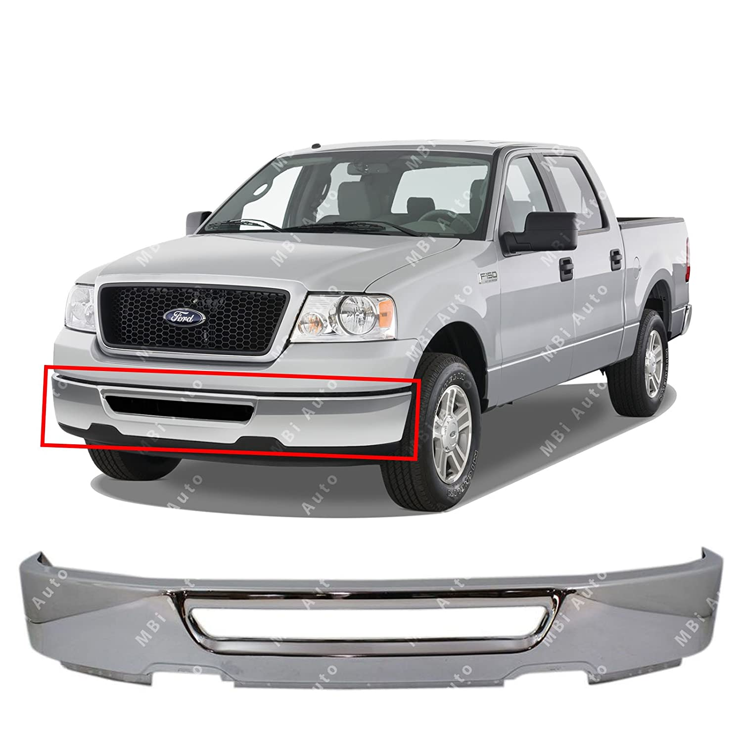 MBI AUTO - Chrome Steel, Front Bumper Face Bar Shell for 2006 2007 2008 Ford F150 W/out Fog Pickup 06-08, FO1002400