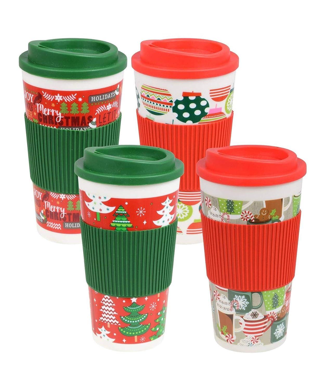 Christmas Holiday Printed Travel Mugs with Lids  Set of 4 Set of 2 Random Assorted Designs  Travel Tumbler Cups  Gift Ideas  Set of 4 Random Assorted