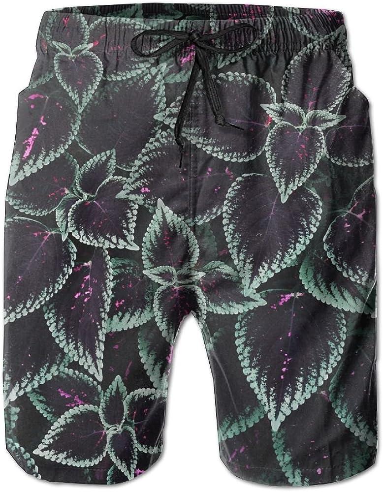 HFSST Plant Foliage Striped Ribbed Summer Swimming Trunks Beachwear Shorts