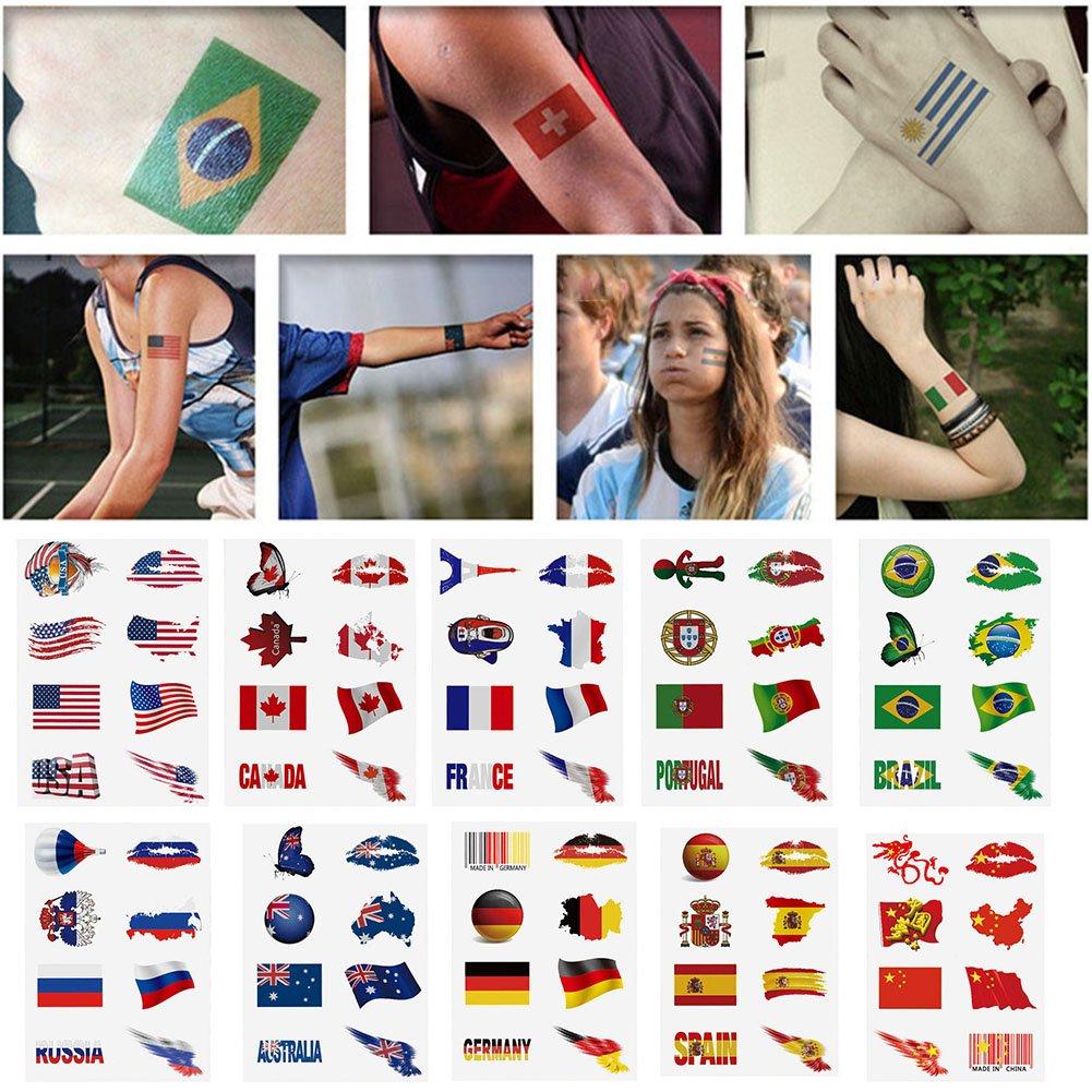RedshooeYY 6PCS Etiqueta engomada del tatuaje de la bandera ...