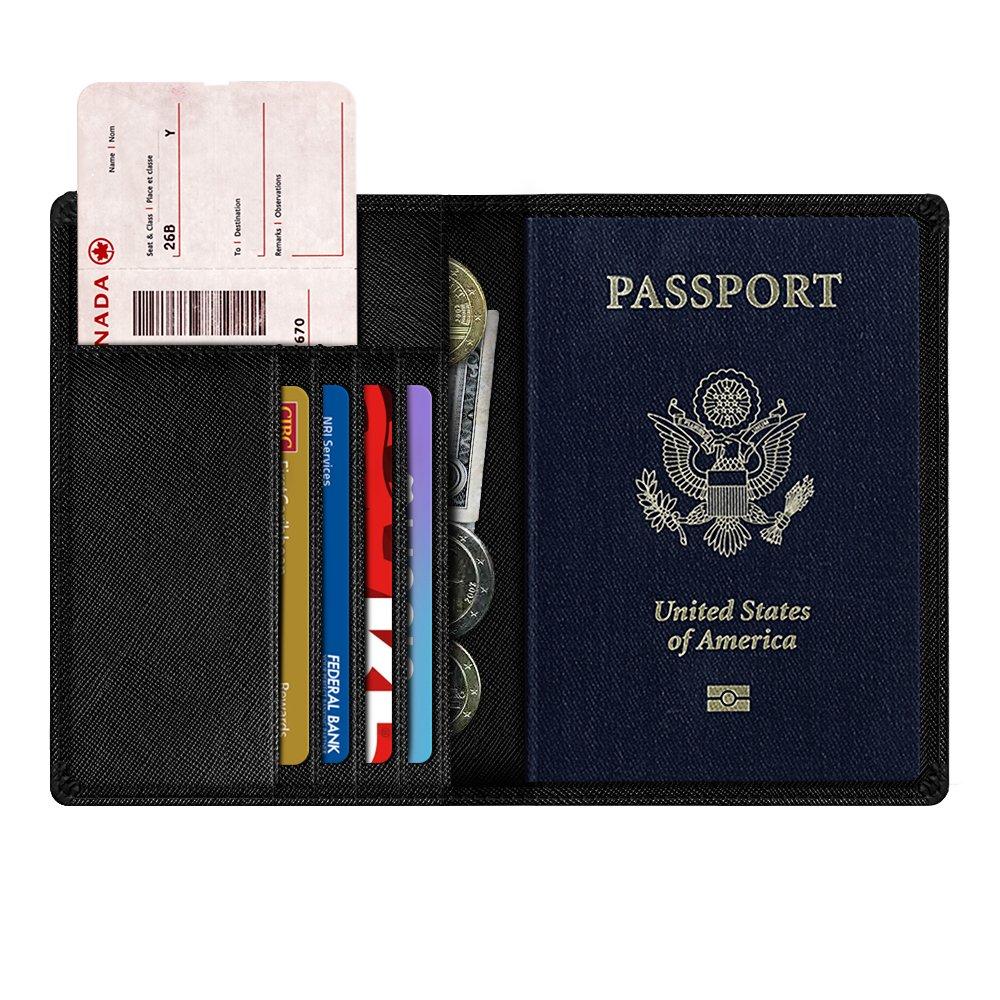 Black Premium Leather RFID Blocking Travel Passport Holder Wallet Organizer Cover Case NEXTKIN Passport Protector Wallet