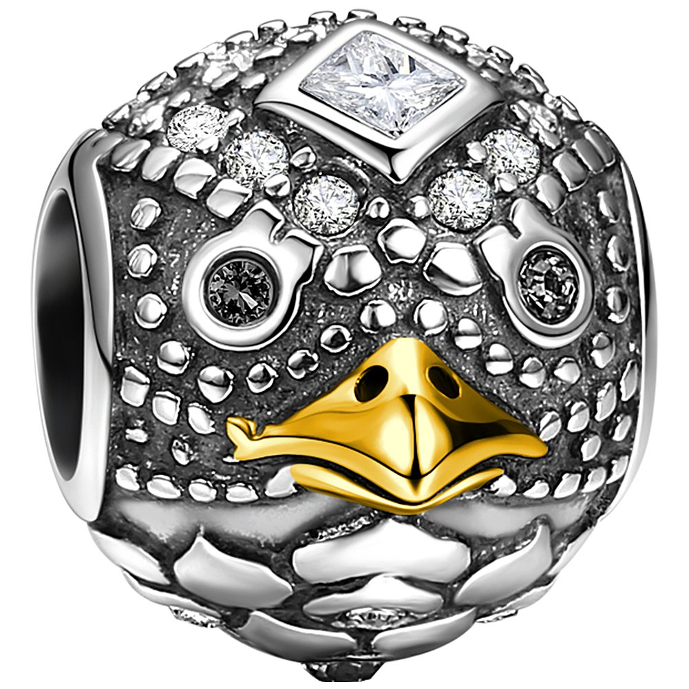 SOUFEEL Eagle Bead Charms 925 Sterling Silver Talisman Charm 14 Gold Plated