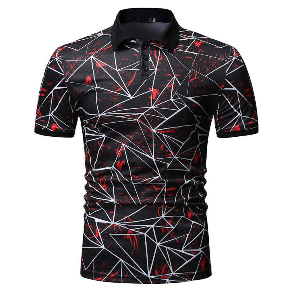 Mens Personality Print Button Slim Fit Turn-Down Collar Short Sleeve Top Shirt Blouse Lucoo Men Polo Shirts