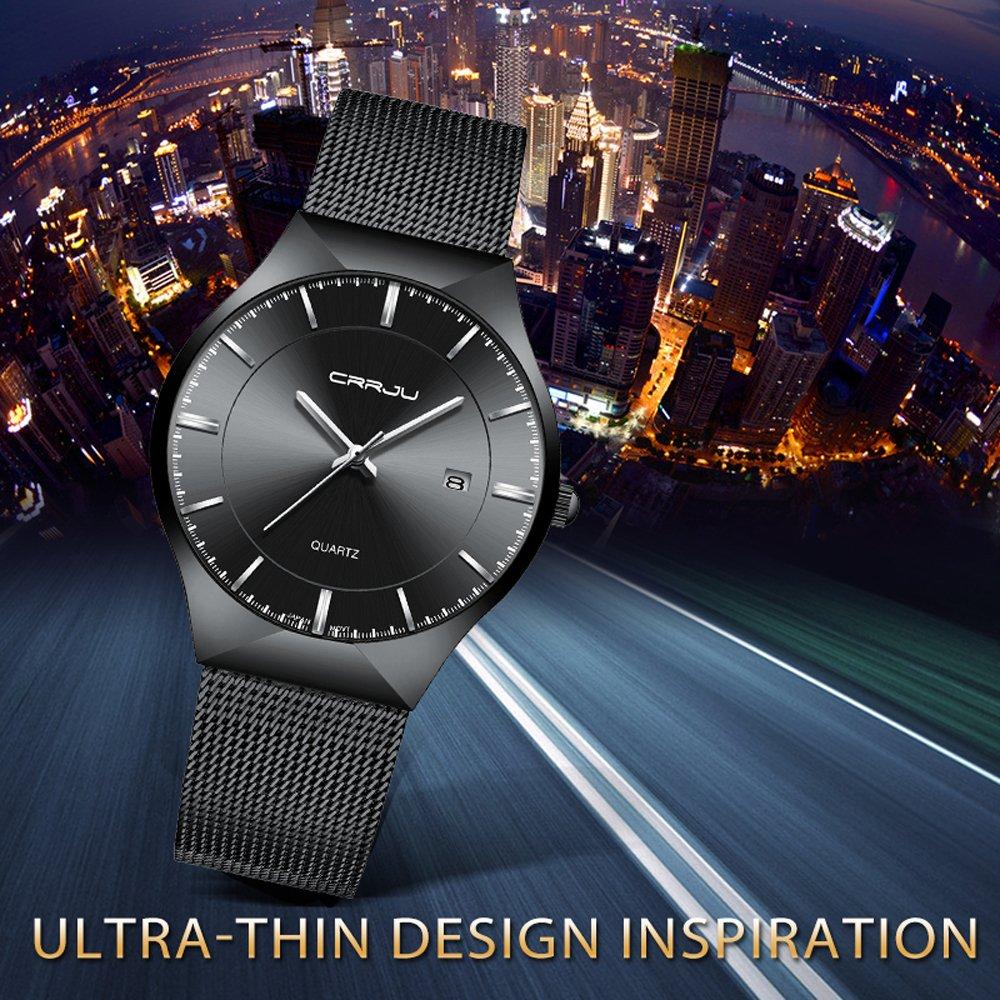CRRJU Men Business Slim Analog Quartz Watch,Date Black Dial Wrist Watch with Mesh Bracelet Strap by CRRJU (Image #6)