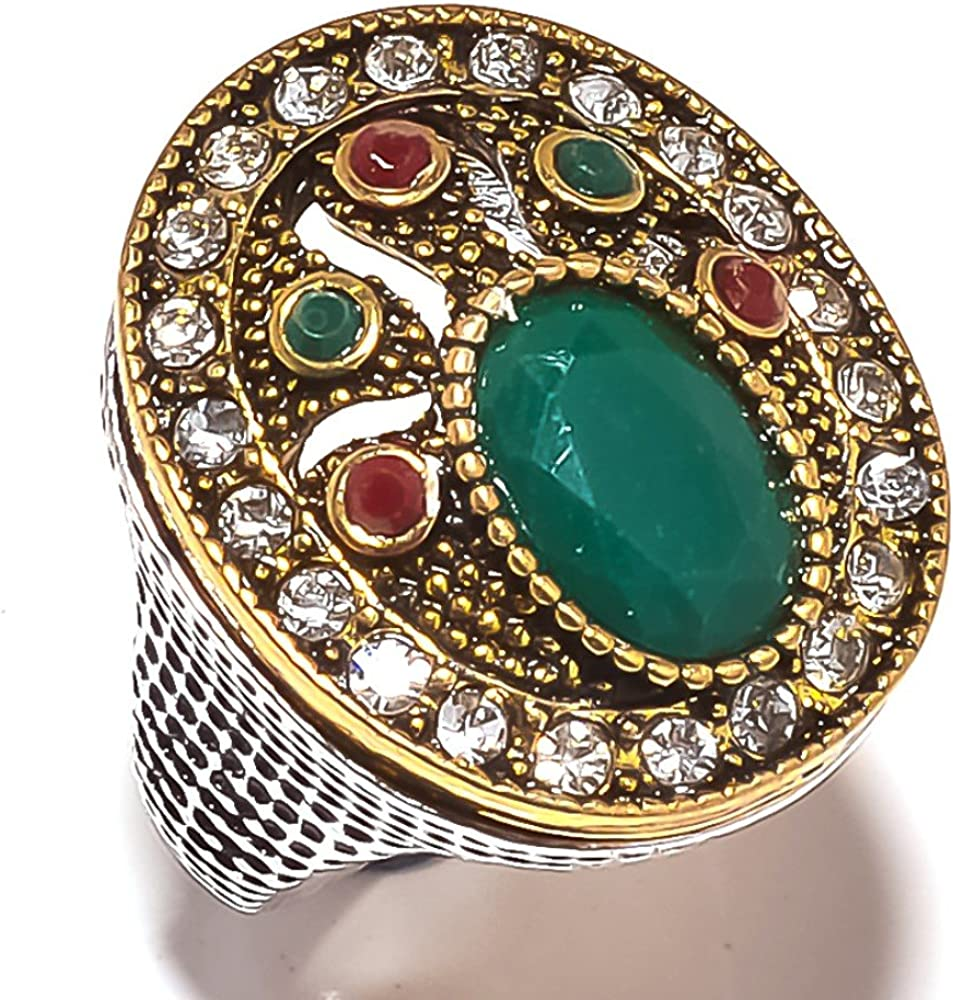 Red Dyed Ruby size 7.5 US Turkish Style Green Dyed Emerald Silver overlay /& Brass 14 Gram Ring
