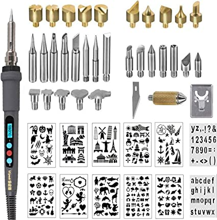 Embossing//Carving//Soldering Tips 68pcs Wood Burning Kit Set with Adjustable Temperature Soldering Pyrography Wood Burning Pen
