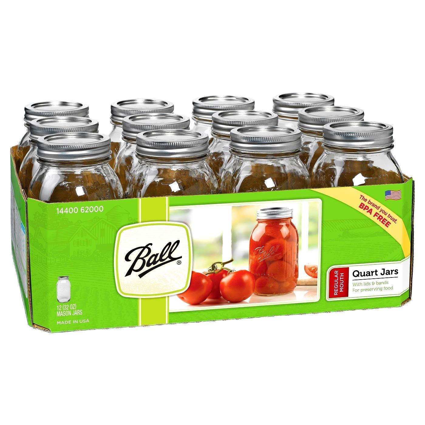 Ball 12-Count Regular Mouth Quart Jars with Lids and Bands