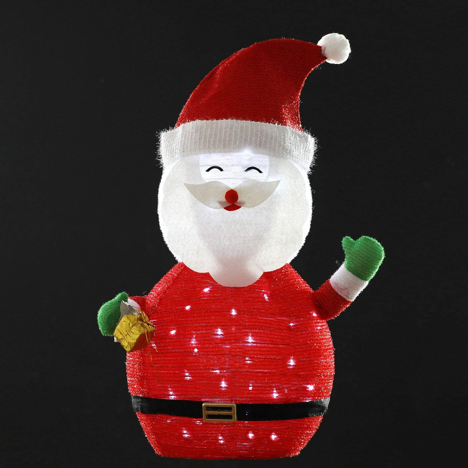KPROE Portable Pre Lit LED Lighted Battery Operated Santa Claus Christmas Lawn Decoration Indoor Outdoor Holiday 27 5 Inches