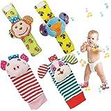 SIYWINA Wrist Rattle Foot Finder Socks 4 Pcs Baby Rattle Toys Gift for Infant Boy Girl