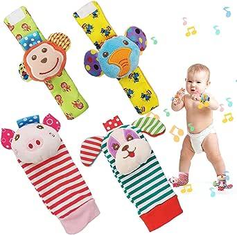 SIYWINA Handled skallra fotfinnare strumpor 4 st baby skallra leksaker gåva för spädbarn pojke flicka