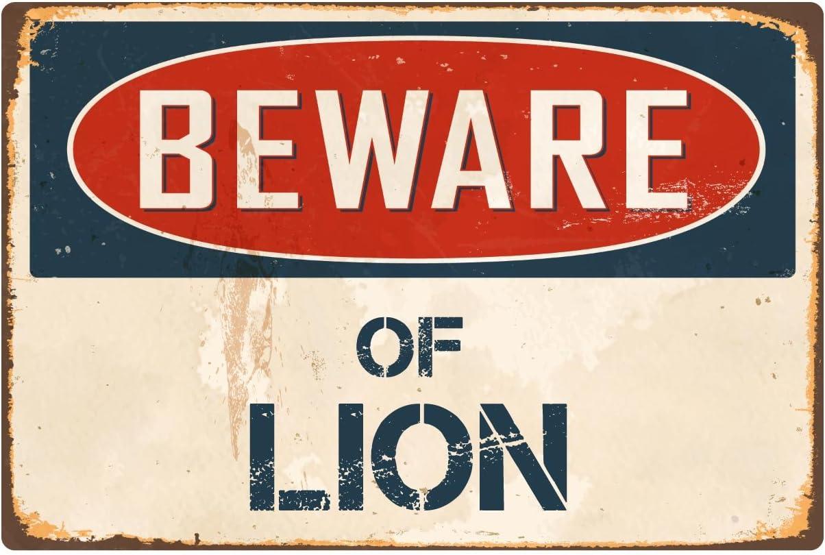 """StickerPirate Beware of Lion 8"""" x 12"""" Vintage Aluminum Retro Metal Sign VS255"""
