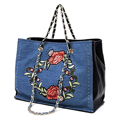Amazon.com  Like Dreams Zahara Floral Embroidery 3-Comparment Tote- Denim  Dark  Clothing 06f017d4778f1
