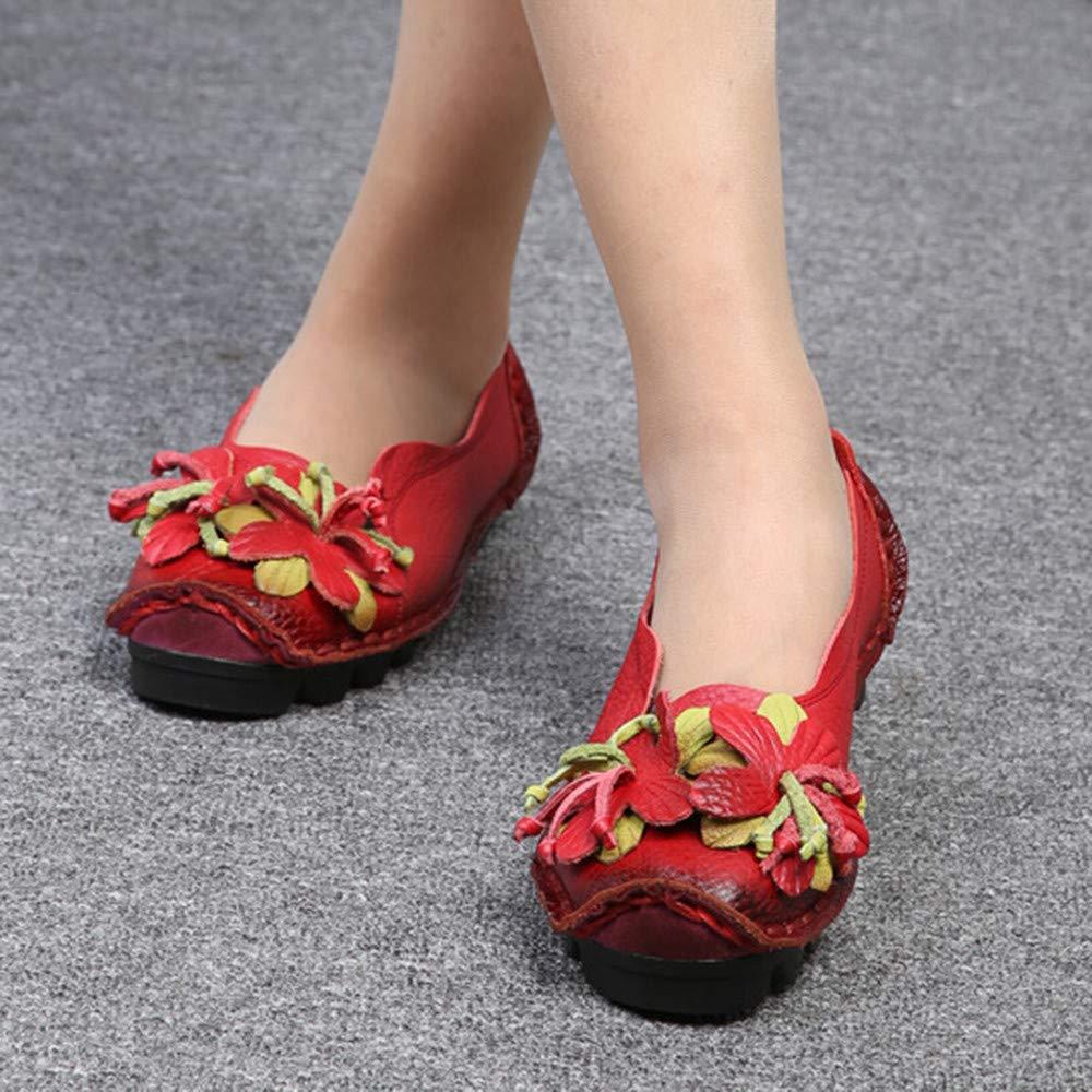 ZARLLE Mocasines para Mujer Primavera/Verano Vintage Flores Hechas a Mano Zapatos de Cuero Estilo Mocasines Cómodo Slip On Shoes Alpargatas Zapatos de ...
