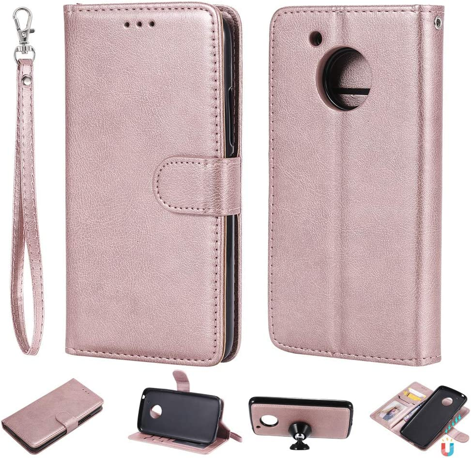 XYX Wallet Case for Moto G5 Plus, 2-in-1 PU Leather Wallet Cases with Detachable Slim Case Fit Magnetic Car Mount for Motorola Moto G5 Plus/Moto G Plus (5th Generation) (Rose Gold)