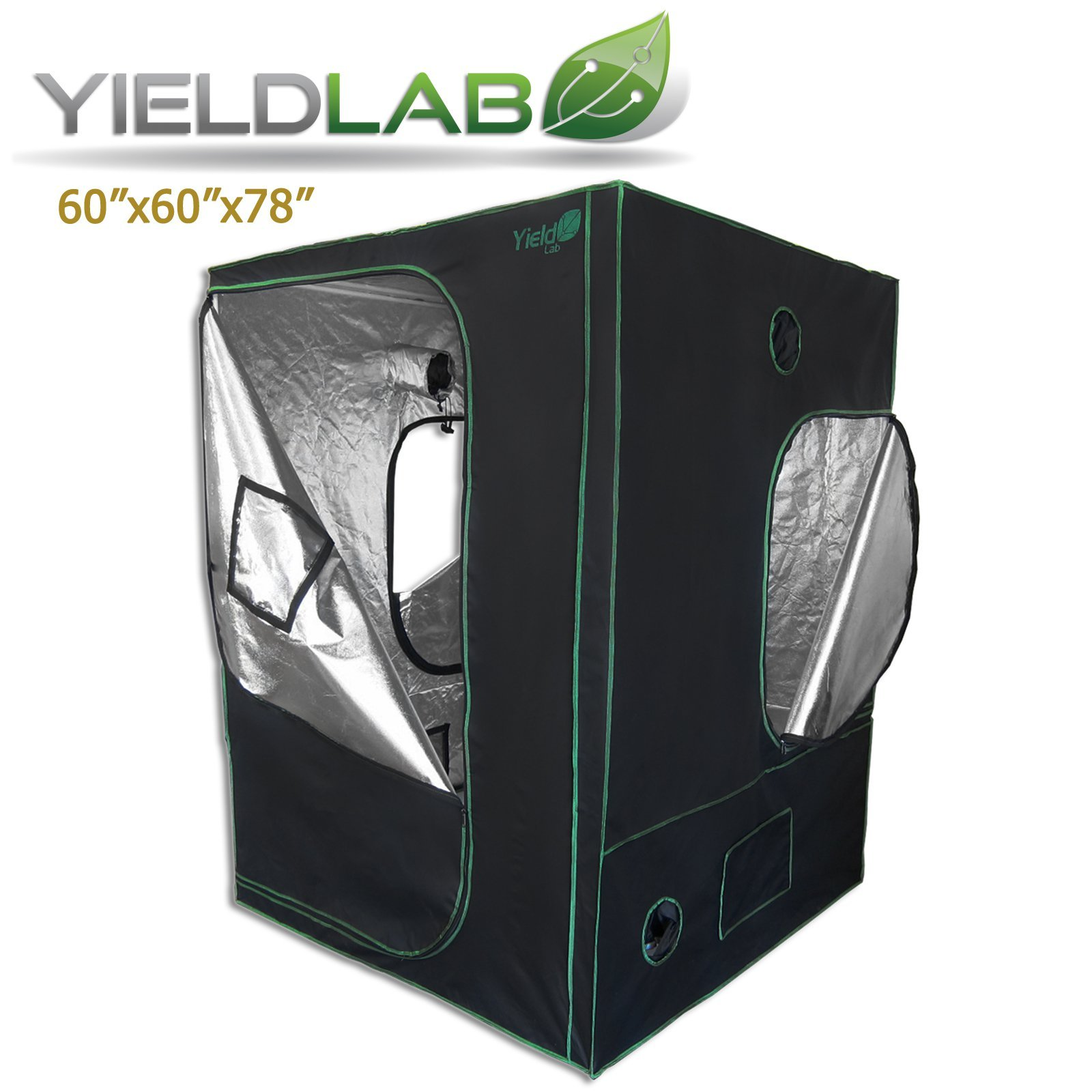 Yield Lab 60x60x78 Inch Grow Tent 100% Reflective Mylar Hydroponic Lightproof Greenhouse