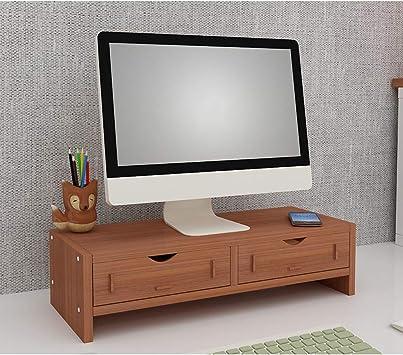 TopJiä Madera Soporte para Monitor,Ordenador Pc Ordenador Portátil TV Elevador del Monitor,Escritorio Almacenamiento Organizador Teca 2 Nivel(2 Cajones): Amazon.es: Electrónica