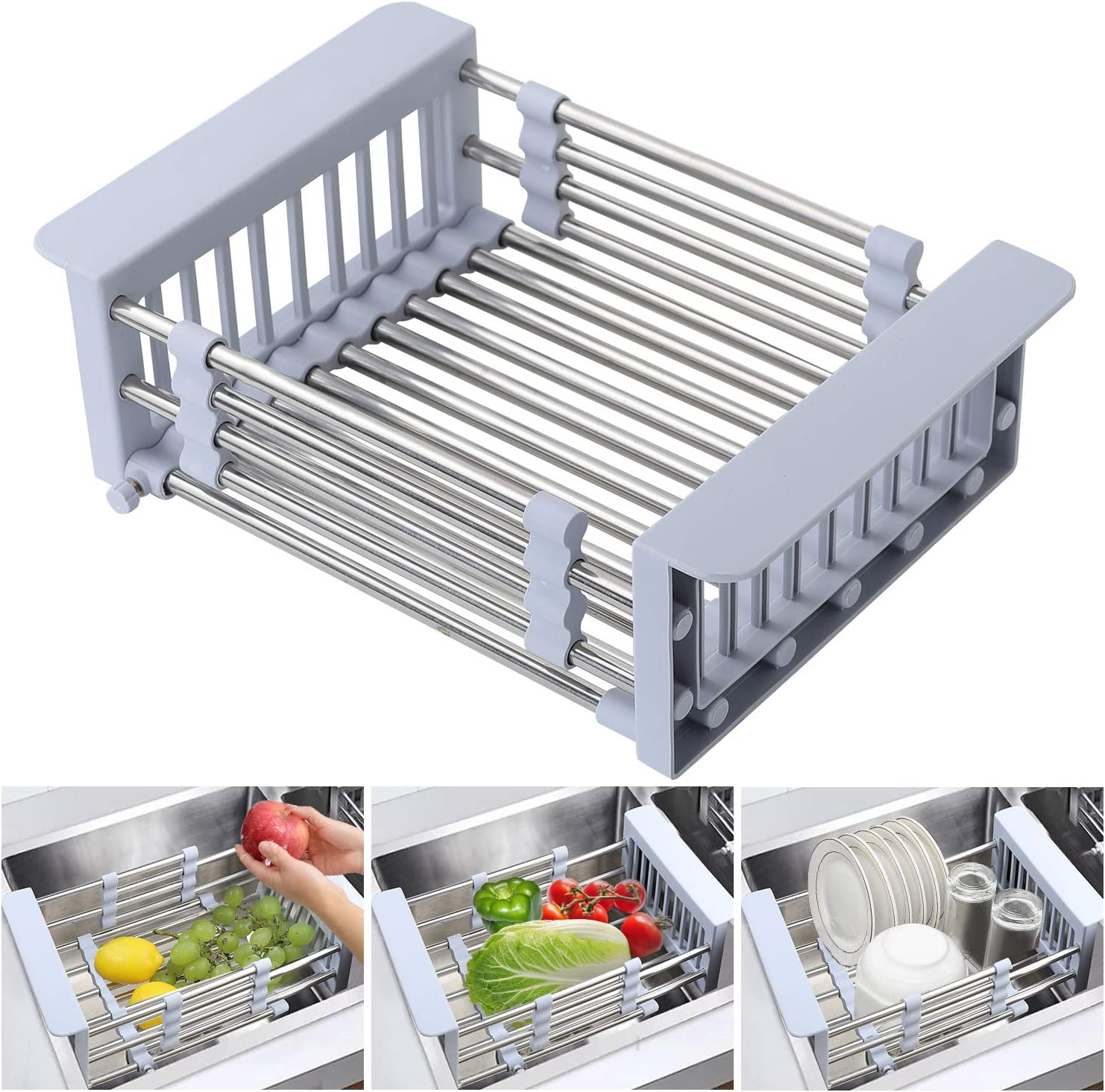 Stainless Steel Dish Drying Rack Over Sink Kitchen Organizer Fast Drain Basket