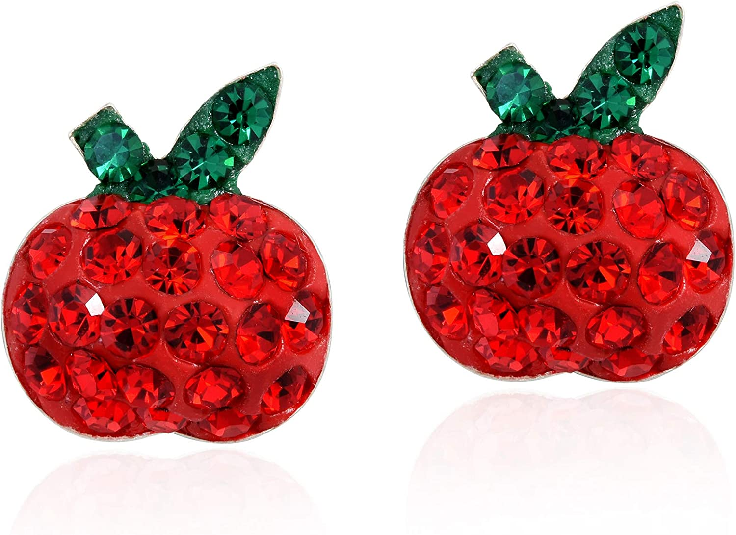 Plump Red Apple Cubic Zirconia .925 Sterling Silver Stud Earrings