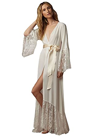 38f48e411a Fenghuavip Women s Lace-Trimmed Bathrobes Bridal Robe Long Ivory at ...