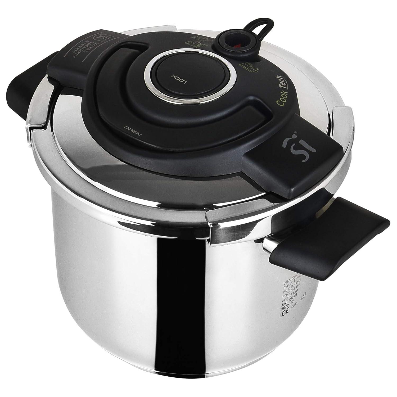 Olla a presión, acero inoxidable, 22 cm, 6,5 L, Cooktech: Amazon ...