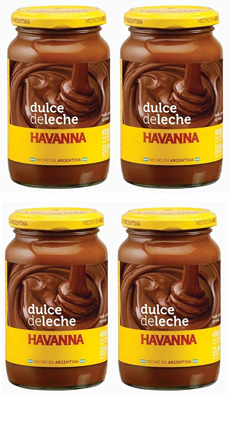 Amazon.com : Havanna Dulce De Leche 450 grs. - 4 Pack/Milk Caramel 15.9 oz. - 4 Pack. : Grocery & Gourmet Food