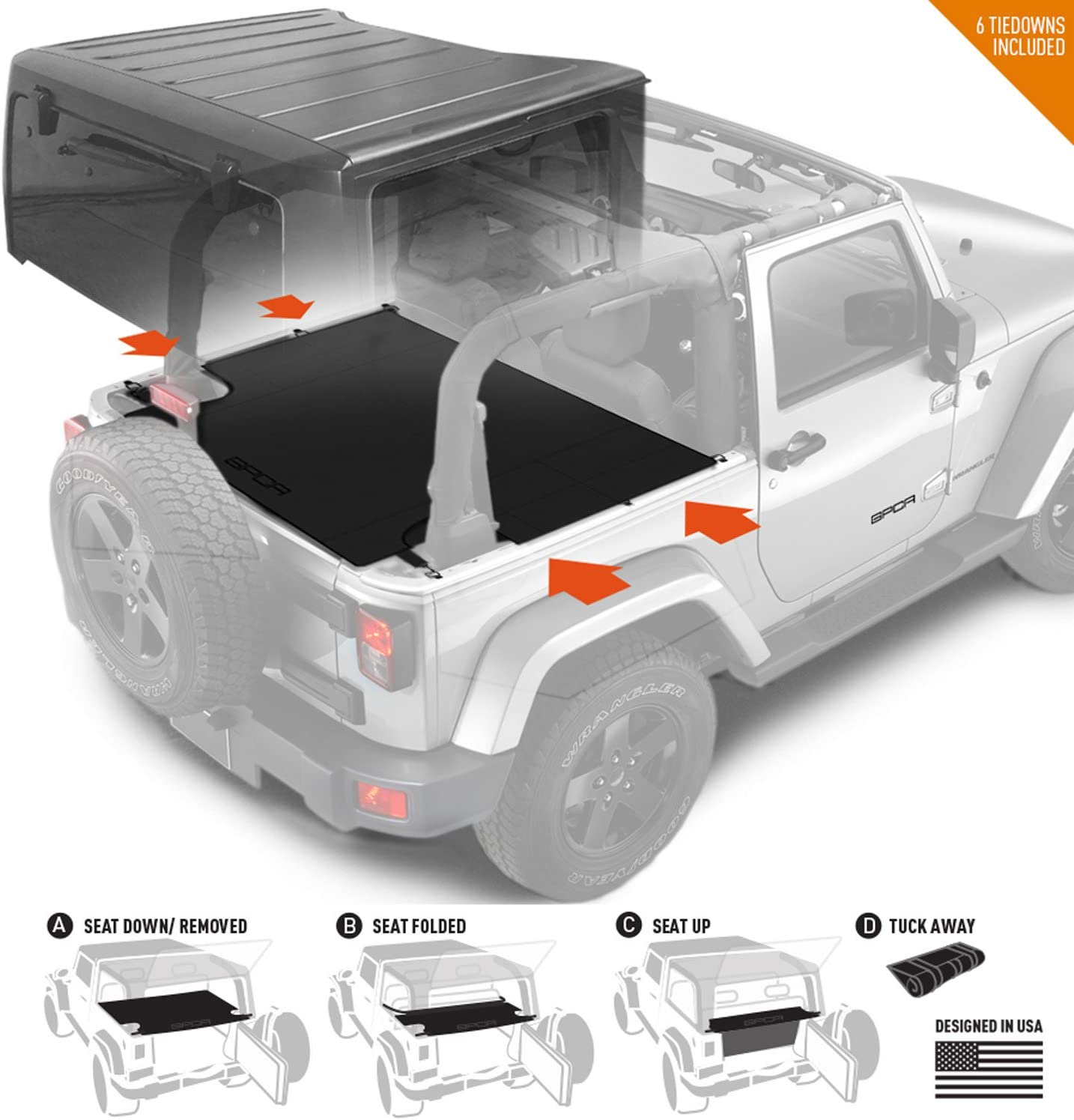 GPCA Jeep Wrangler JK 2DR Cargo Cover LITE - with seat Holding Strap and 3 configurations for Jeep JK 2007-2018 Sport/Sahara/Freedom/Rubicon Model
