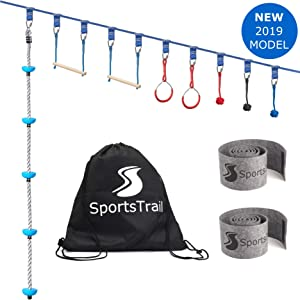 Ninja Slackline Monkey Bars Kit, 42' Jungle Gym Obstacle Course for Kids and Adults + Climbing Rope, Warrior Training Obstacle Course Equipment, Slackline Gymnastic Bar, Tree Protector & Carry Bag