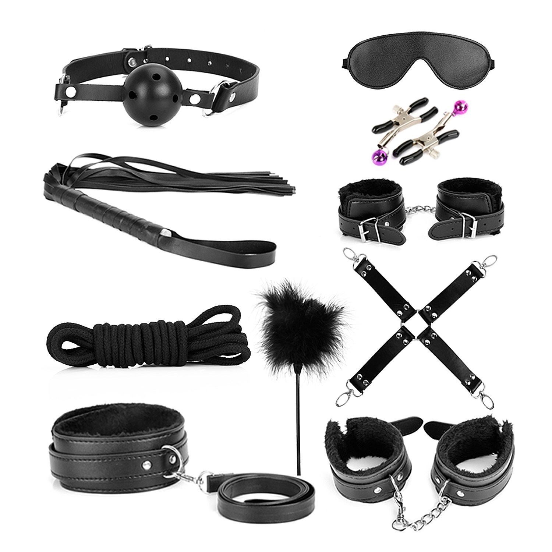 Bondage Kit, 10 Piece Set Love Cuffs, Black by MELO