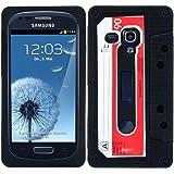 kwmobile Silikon Hülle Case für Samsung Galaxy S3 Mini mit Kassette Design - Handy Cover Schutzhülle in Rot Weiß Schwarz