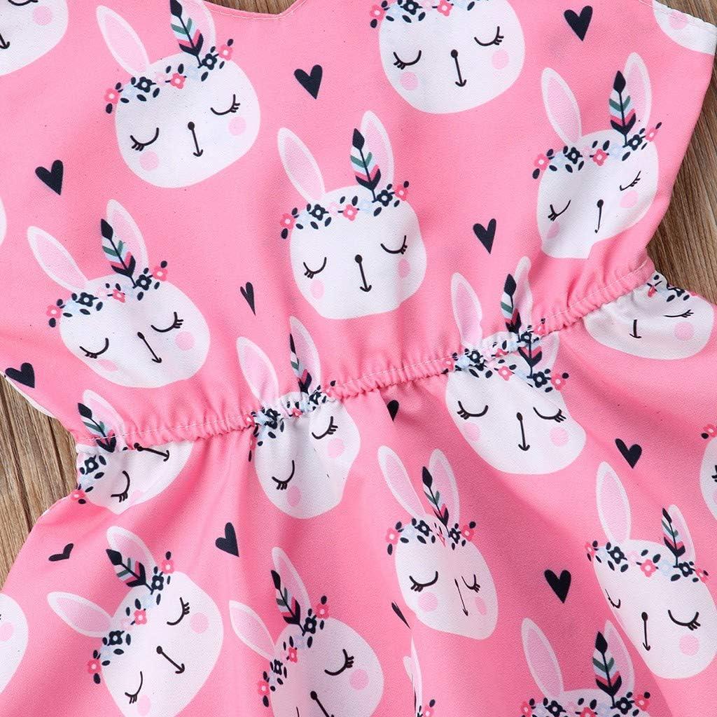 GIANTHONG Easter Children Kids Baby Girls Sleeveless Rabbit Print Princess Vest Dress