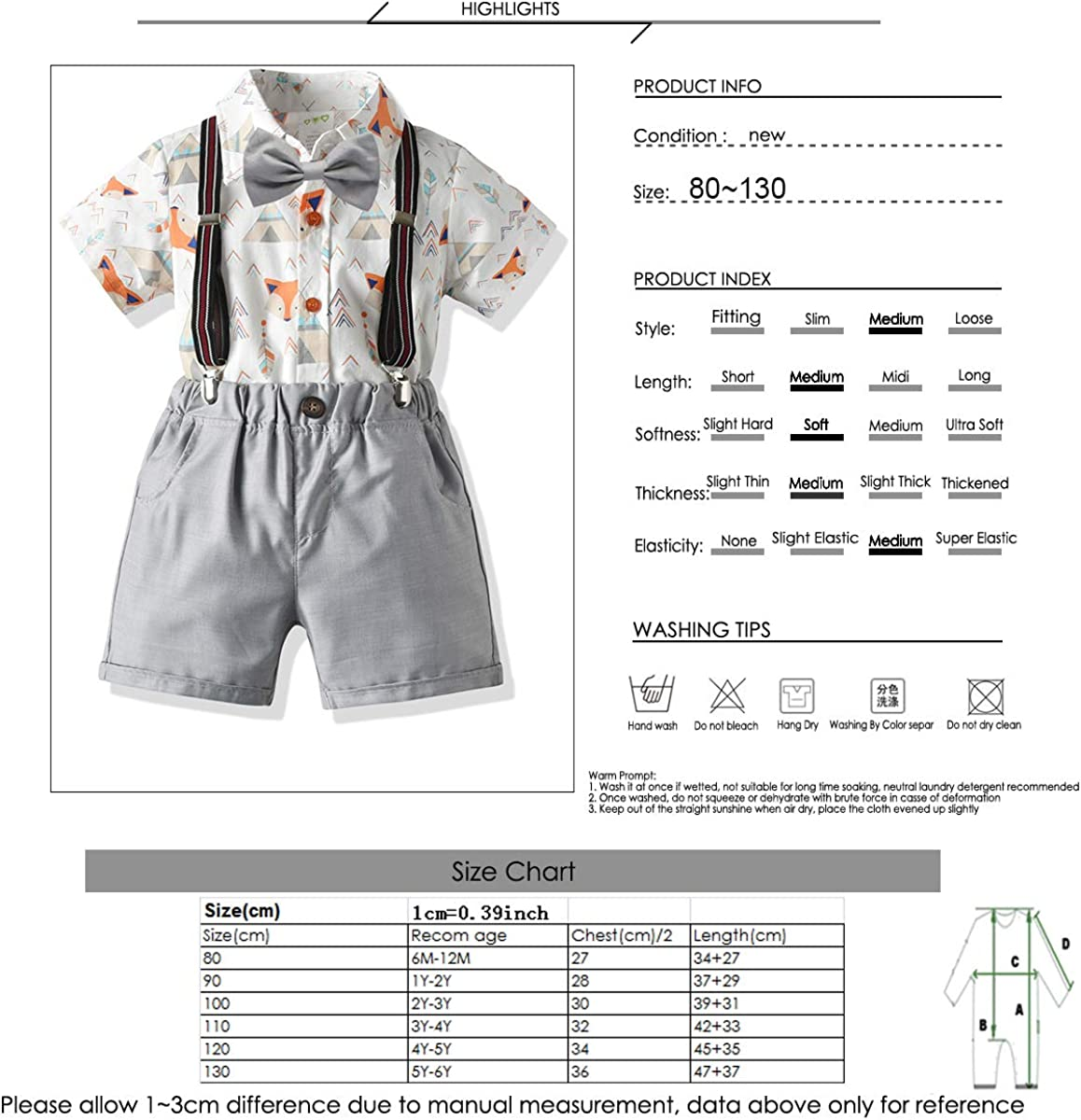 Borlai 4PCS Little Boys Gentleman Suit Fashion Outfits Shirt Shorts Bow Tie Suspenders