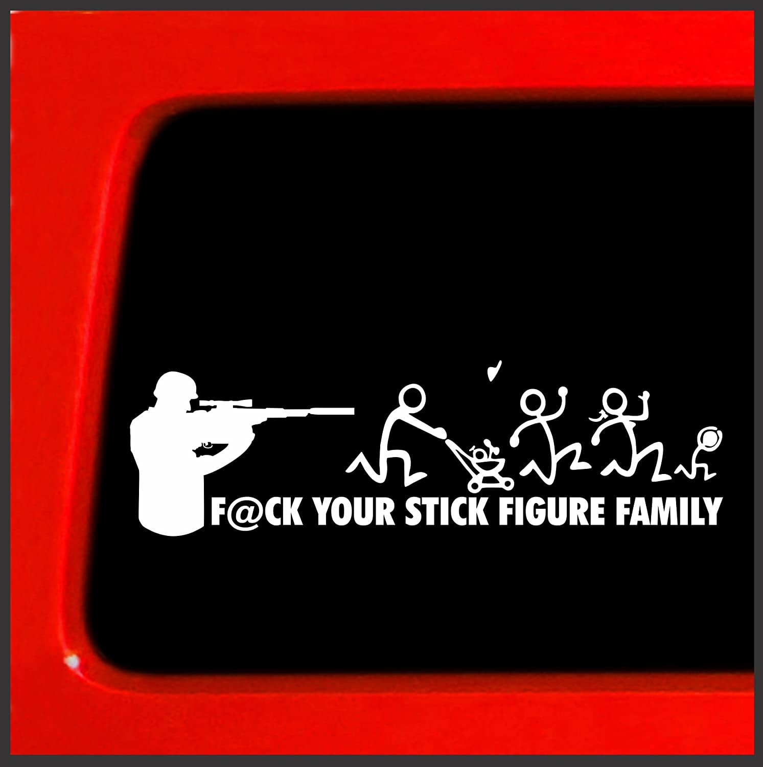 Shooter F*ck Your stick Figure Family Vinyl Sticker Decal Funny car Gun  troops soldier army, Decals & Bumper Stickers - Amazon Canada