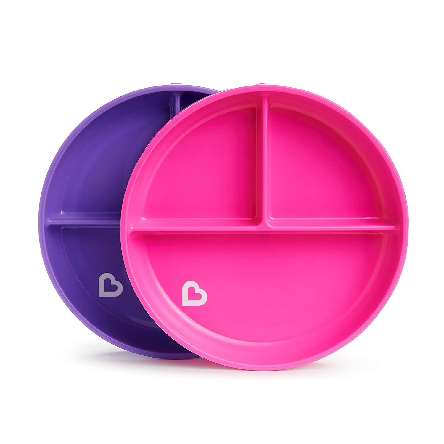 Munchkin Stay Put Divided Suction Plates, Pink/Purple 17403