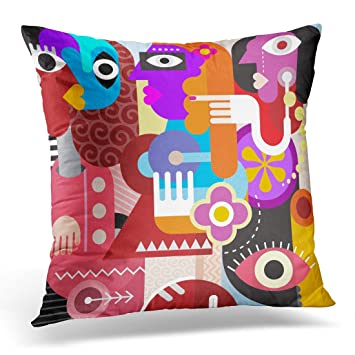 Emvency Decorative Pillow Cover Brown Picasso Abstract Portrait of Three  Women Graphic Design Couple Looking at 9d20a6757