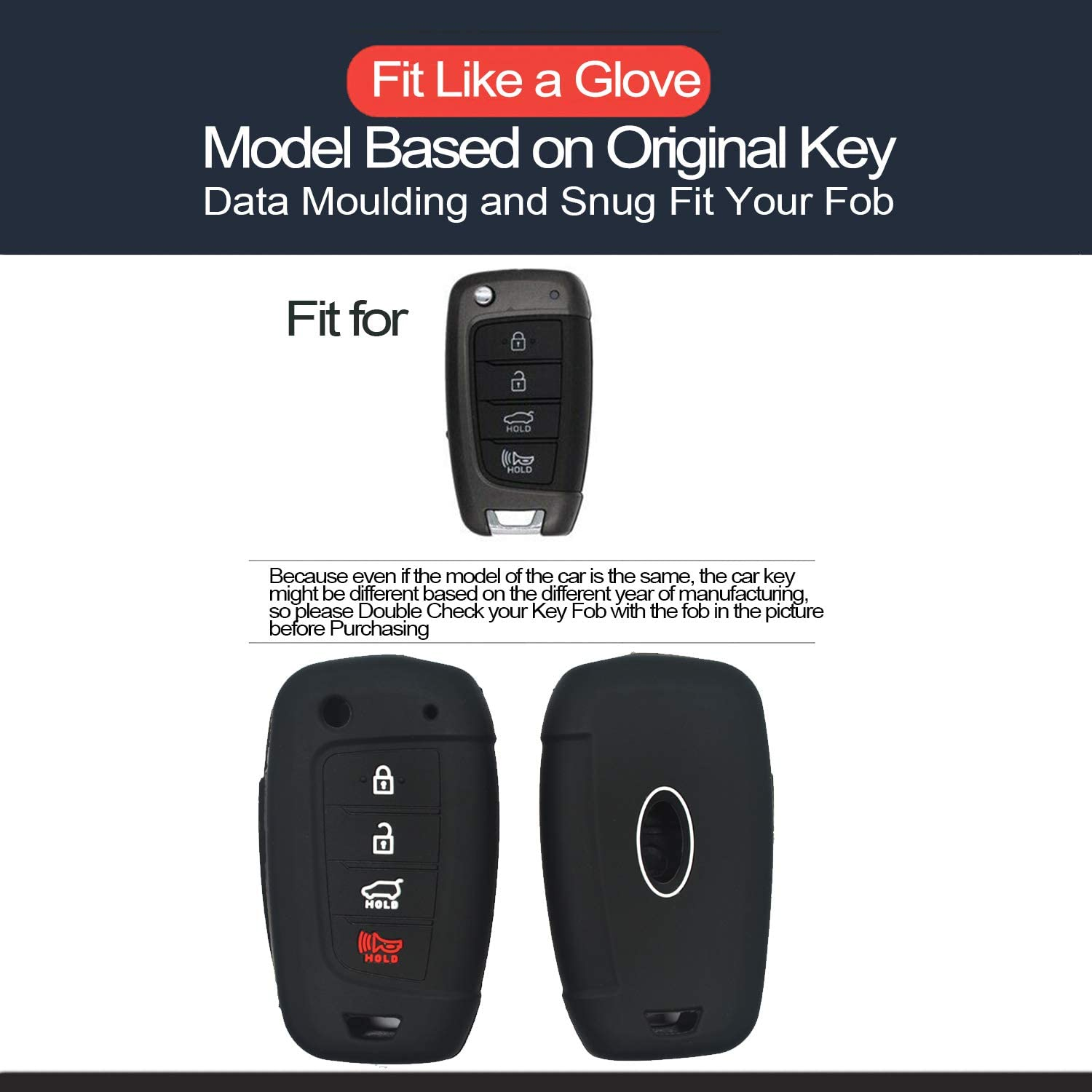 2pcs Compatible with Hyundai Accent Flip 4 Buttons Silicone Case Cover Protector Keyless Remote Holder for 2019 2018 Hyundai Accent GL GLS Limited Ultimate Mid LE SE Essential SEL GL Mid Preferred L