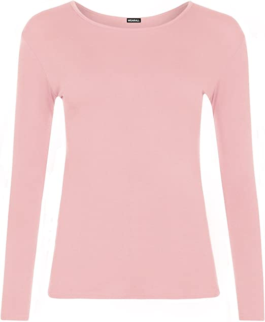 nice shoes low price sale top brands ZET New Ladies Plus Size Long Sleeve T-Shirt Womens Stretch Plain ...