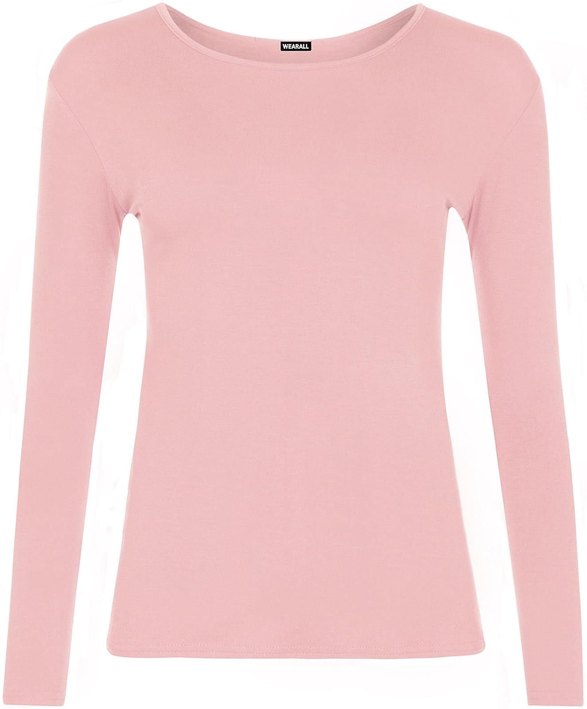 dd7d5e9fbb2e88 New Ladies Plus Size Long Sleeve T-Shirt Womens Stretch Plain Top UK Sizes 8-26   Amazon.co.uk  Clothing