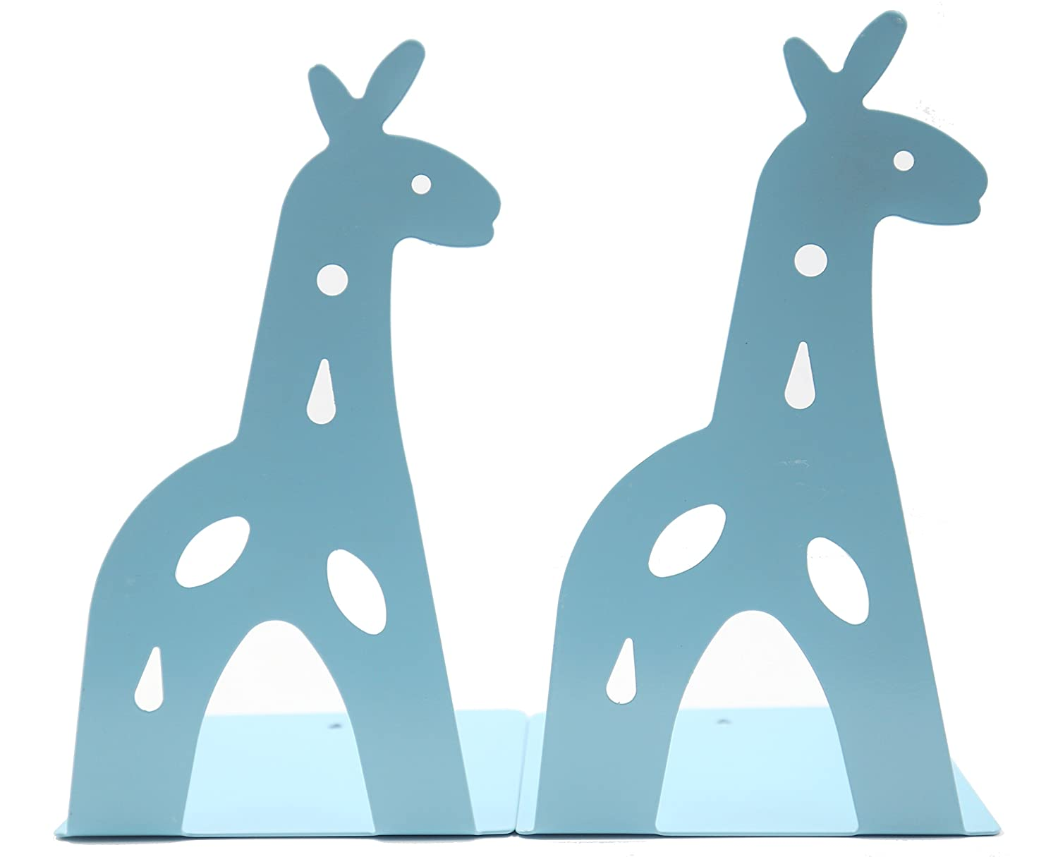 Y-H Cute Cartoon Blue Giraff Iron Metal Nonskid Bookends Art Bookends Bookend Art Gift (Blue) YIHUI