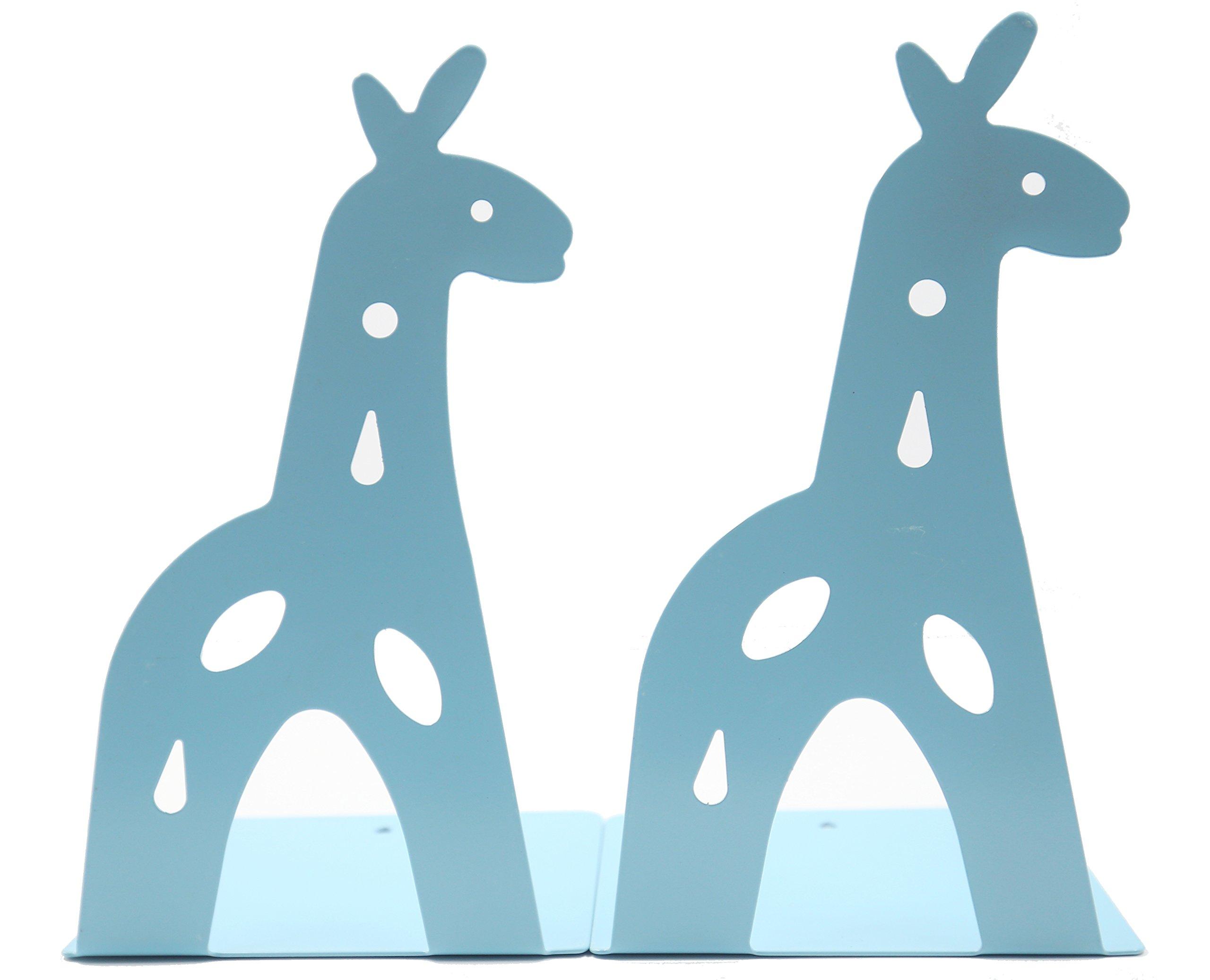 Y-H Cute Cartoon Blue Giraff Iron Metal Nonskid Bookends Art Bookends Bookend Art Gift (Blue)