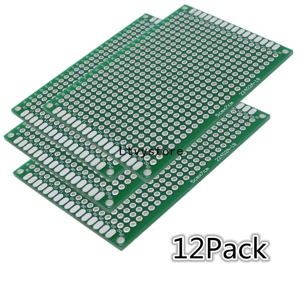 Double Sided PCB Board Prototype Kit, 5x7 cm (1.97x2.76 inch) Universal Printed Circuit Board for DIY Soldering and Electronic Project, Pack of 12, by Ltvystore