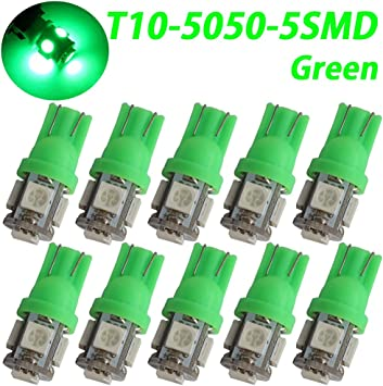 Direct Replacment and Reverse T10 5-SMD Cool White LED Car Lights Bulb RV Signal Pack of 10 Dashboard 5050 Wedge Type W5W 2825 158 192 168 194-12V Dome Interior Parking Light Trunk Auto