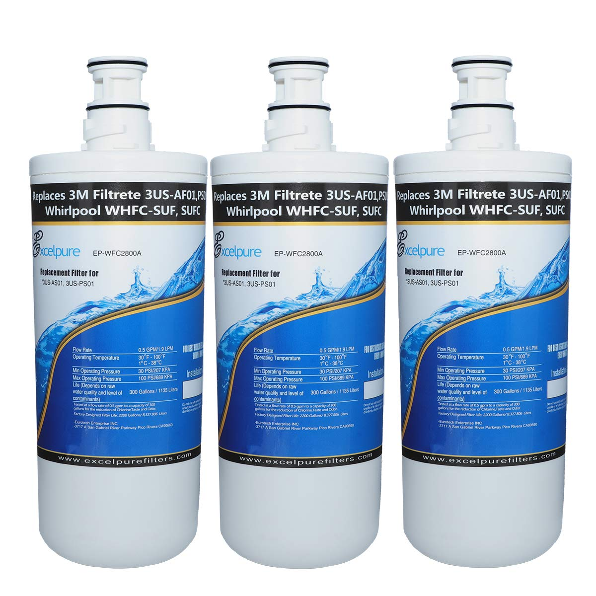 EXCELPURE Premium 3US-AF01 Undersink Standard Water Filter Replacement Compatible W/ 3M 3US-AF01, 3US-AS01, 3US-PF01, 3US-PS01, WHCF-SRC, WHCF-SUFC, WHCF-SUF - 3PACK