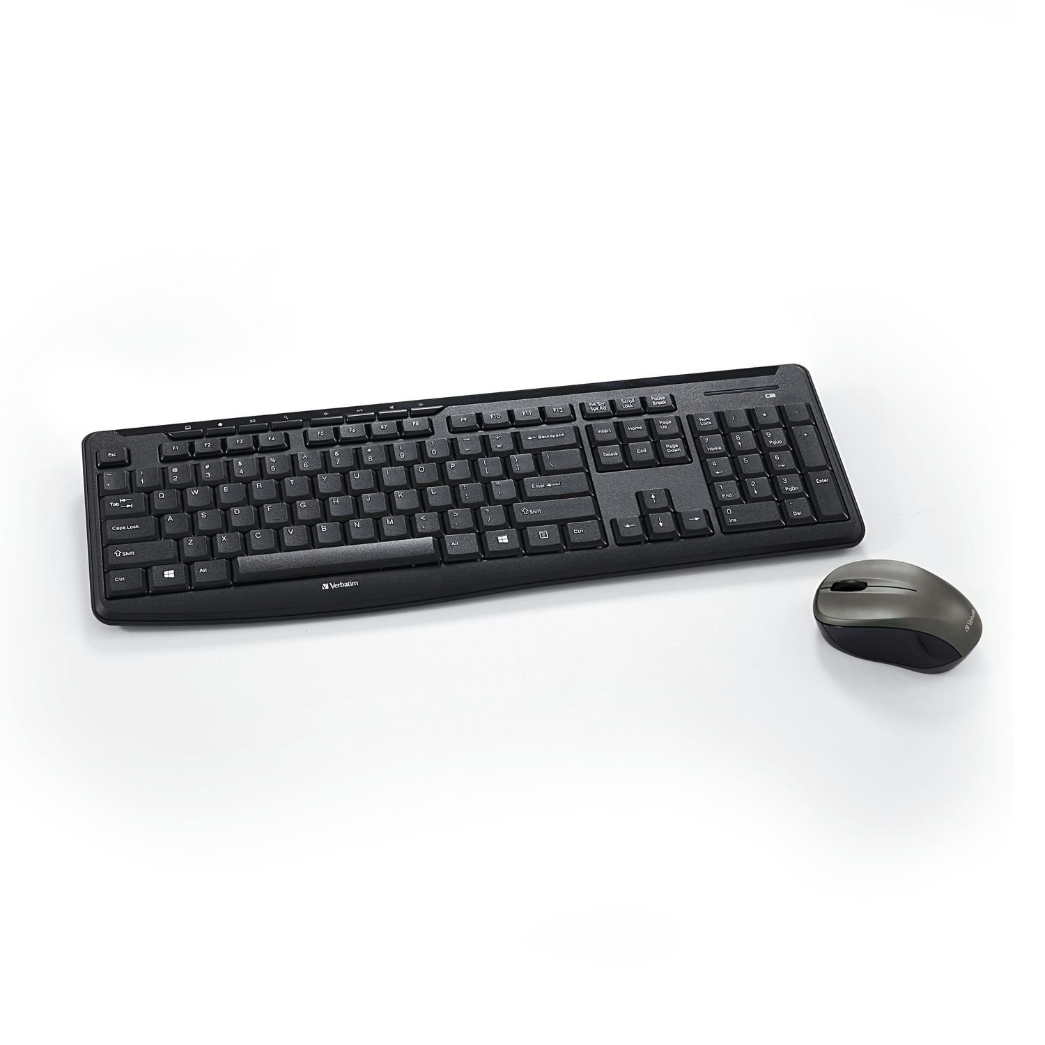 Verbatim Wireless Silent Mouse & Keyboard Combo - 2.4GHz with Nano Receiver - Ergonomic, Noiseless, and Silent for Mac and Windows - Graphite (99779)