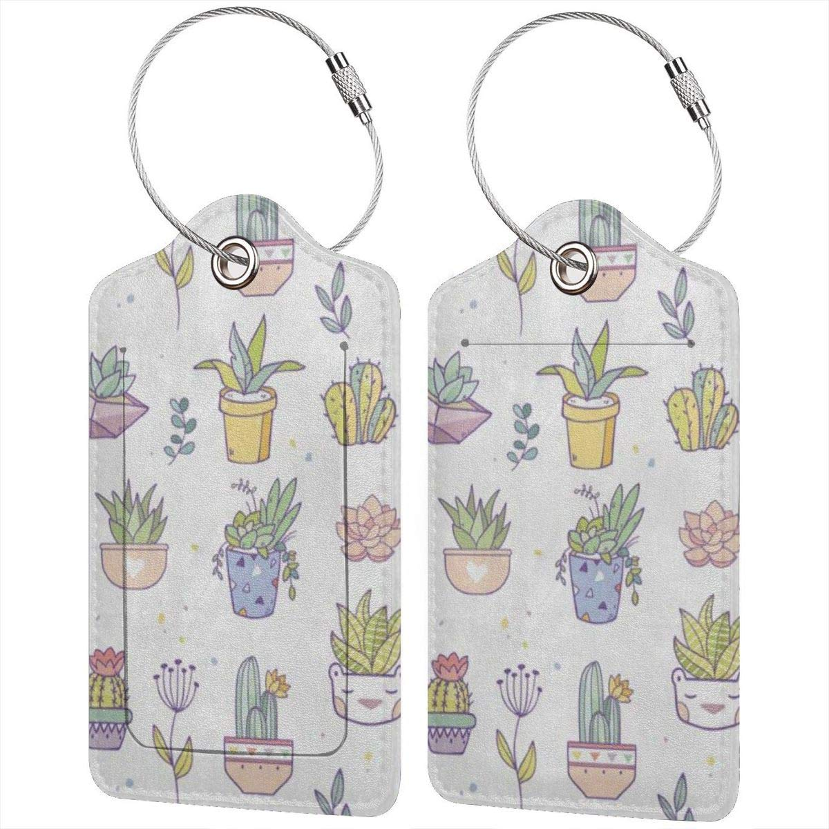 Cute Cactus Succulents Leather Luggage Tags Personalized Address Card With Adjustable Strap
