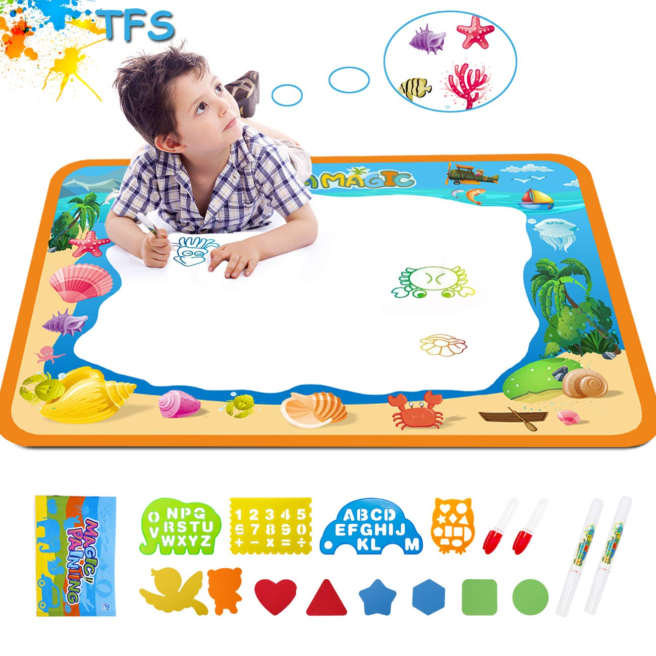 Water Drawing Aquadoodle Magic Mat - TFS Kid Painting Writing Color Doodle Board Toys with Magic Pens