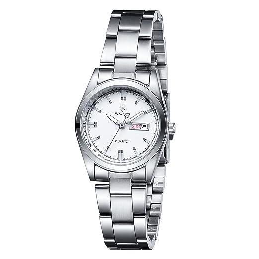 WWOOR Auténtico suizo reloj analógico de acero Inoxidable de ultra plana esfera con calendario con Cristal