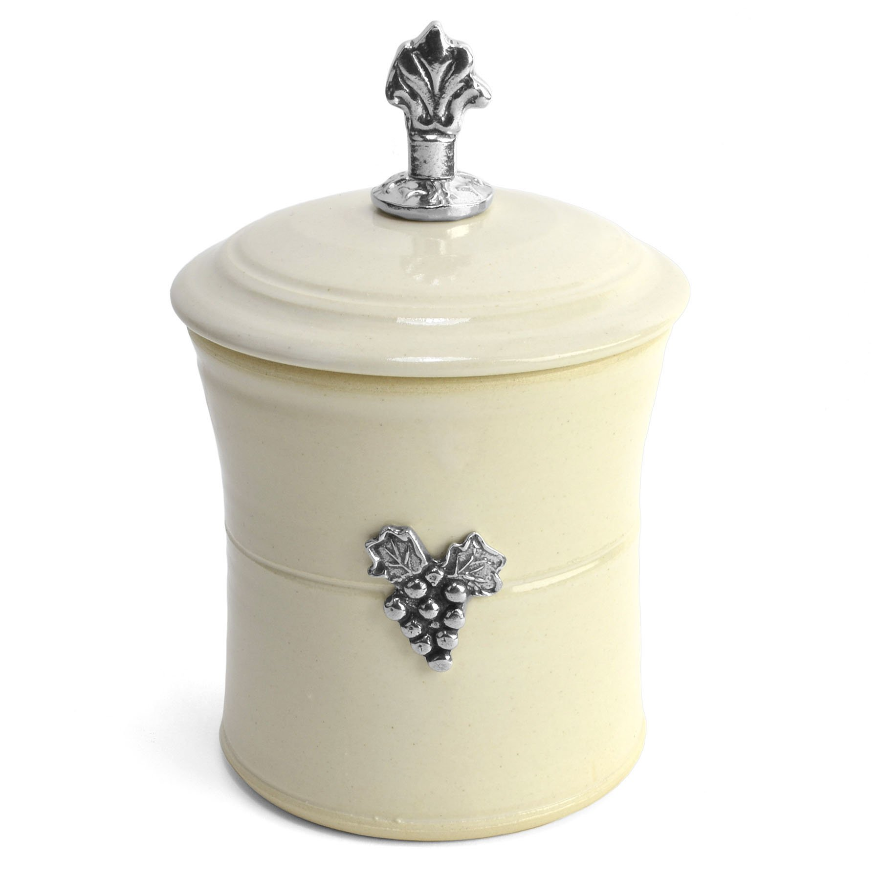 Crosby & Taylor Vineyard Garlic Pot with Pewter Finial, Whipping Cream by Crosby & Taylor
