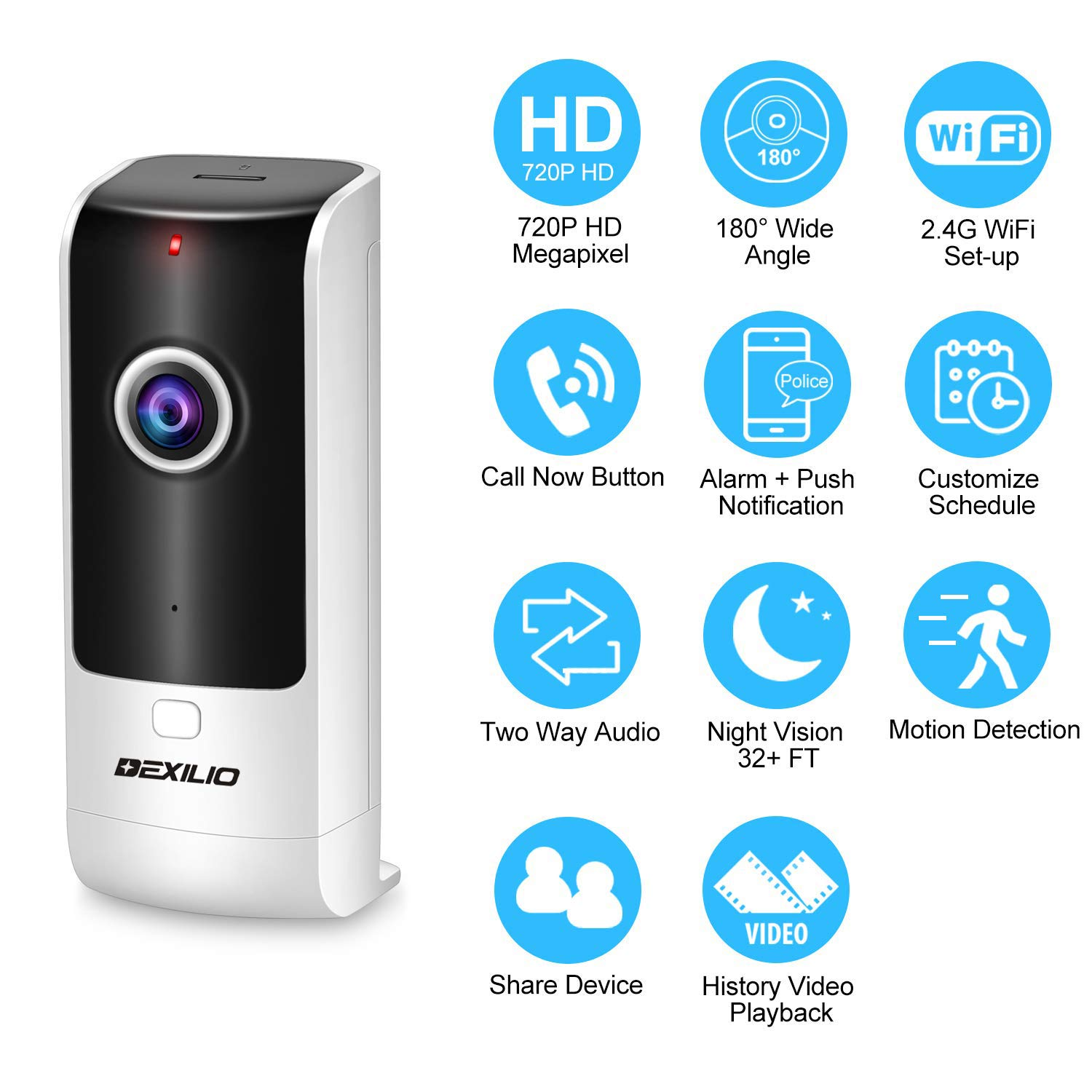 Wireless Security WiFi Camera with Call Button, DEXILIO Home Surveillance Indoor IP Camera for Baby Elder Pet Nanny Monitor, 180 Fisheye Two-Way Audio Motion Detection Cloud Storge,Free 32GB Card