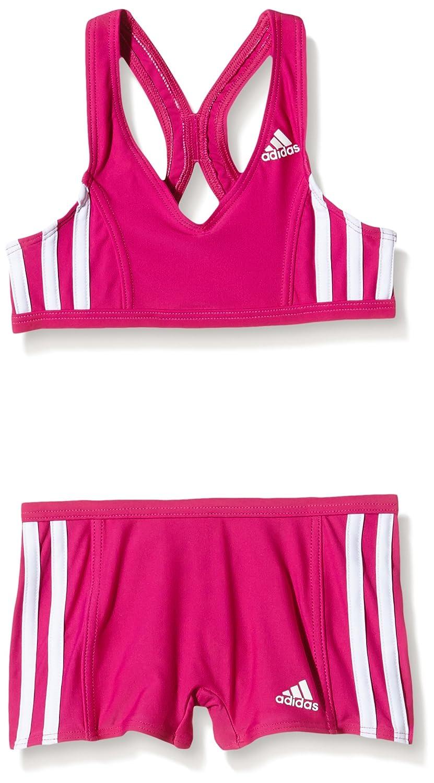adidas I 3S 2Pc Y Costume da Bagno da Bambina, Rosa/Bianco (Eqtros/Bianco), 98 S93104